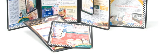 Classic Cafe plastic and vinyl menu covers