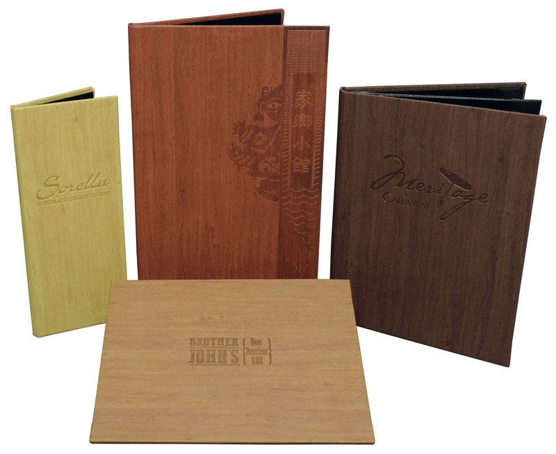 fFaux Wood Menu Covers